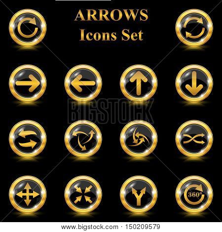 Set of arrows icons on black background. EPS10 Vector.