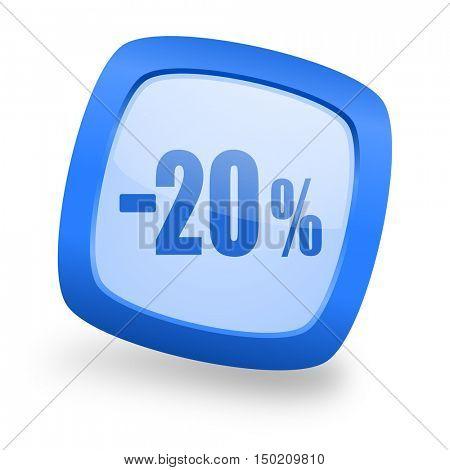 20 percent sale retail blue glossy web design icon