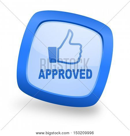 approved blue glossy web design icon