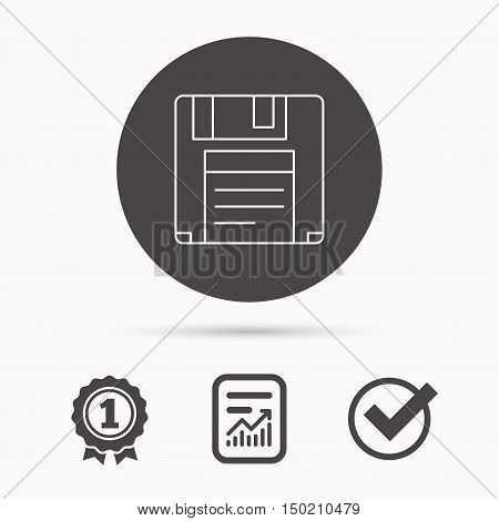 Floppy disk icon. Retro data storage sign. Report document, winner award and tick. Round circle button with icon. Vector