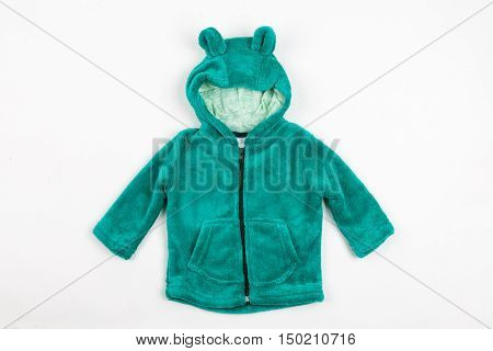 Cute green children's winter jacket with hood