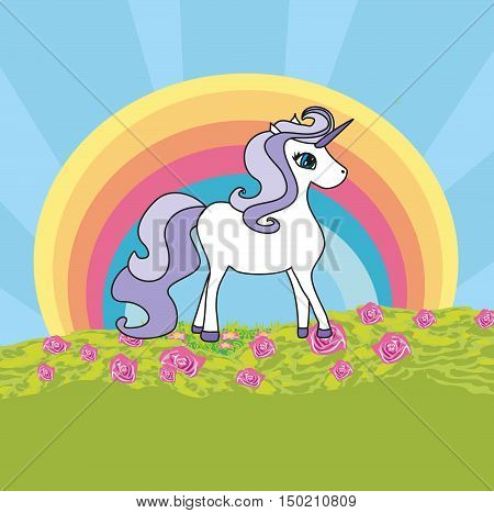Unicorn with a rainbow on field , vector illustration