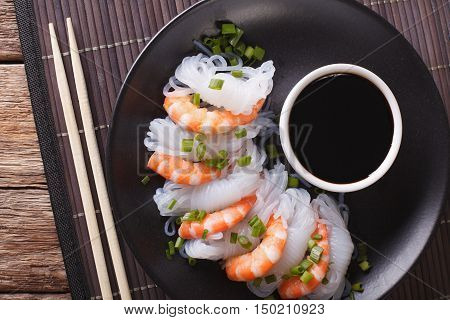 Shirataki Noodles With Shrimp And Green Onions Close-up. Horizontal Top View