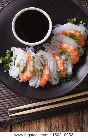 Shirataki With Prawns, Chives And Soy Sauce. Vertical Top View