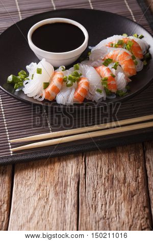 Japanese Food: Shirataki With Prawns, Spring Onions And Soy Sauce Close-up. Vertical