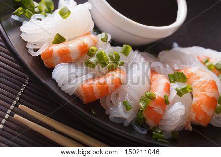 Shirataki With Prawns, Chives And Soy Sauce Macro. Horizontal