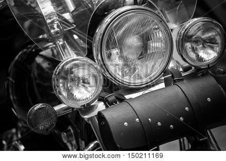 Headlight of classic custom motorbike in Black and White