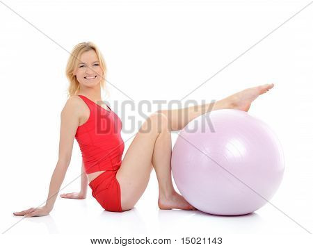 Pretty Fitness Woman Doing Exercise With Pilates Ball. Isolated On White Background