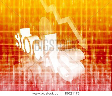 Stock market economy trend concept illustration background worsening