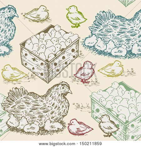 Hen with chicks seamless pattern farm fresh eggs design template hand drawn vector