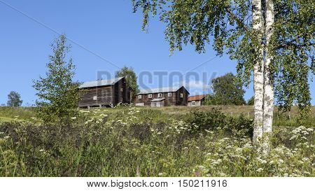 HARJEDALEN, SWEDEN ON JULY 08. View over farmland, buildings and the landscape on July 08, 2016 in Harjedalen, Sweden. Summer and sunshine. Wildflower and trees this side. Editorial use.