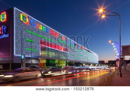 Varna Bulgaria - December 17 2015: Grand Mall Varna at night. The Grand Mall is largest Mall development in Varna Bulgaria. Located close to the city centre.
