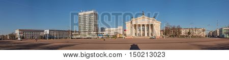Gomel Belarus - March 27 2016: Panoramic view of the Lenin Square and the Drama Theatre. Morning.