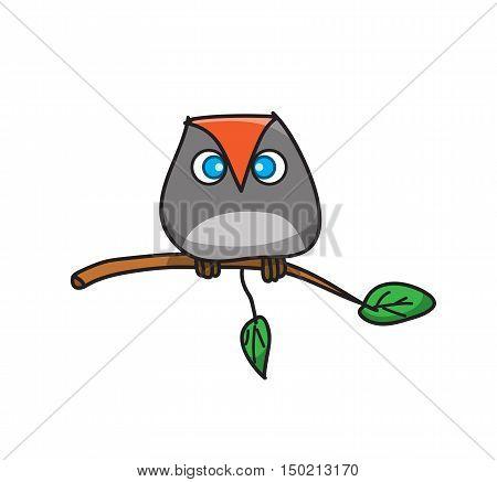 Owl Cartoon, a vector cartoon of an owl standing on a twig.