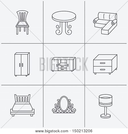 Corner sofa, table and cupboard icons. Chair, lamp and nightstand linear signs. Vintage mirror, double bed and chest of drawers icons. Linear icons on white background. Vector