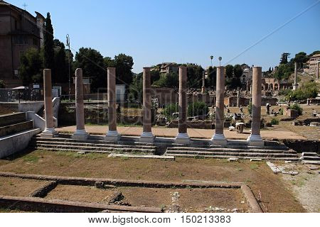 Roman archaeological excavations. Old buildings in Rome.