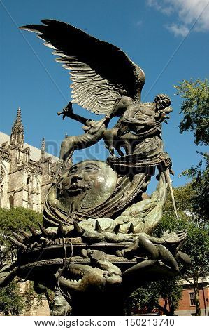 New York City - August 26 2004: The Peace Fountain in the gardens of the Cathedral of St. John the Divine on Amsterdam Avenue