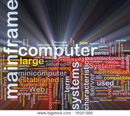 Software package box Word cloud concept illustration of mainframe computer