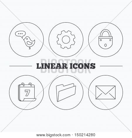 Lock, folder hand and e-mail icons. Bird message linear sign. Flat cogwheel and calendar symbols. Linear icons in circle buttons. Vector