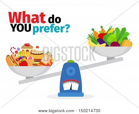 Scales with fatty foods and healthy food vector illustration