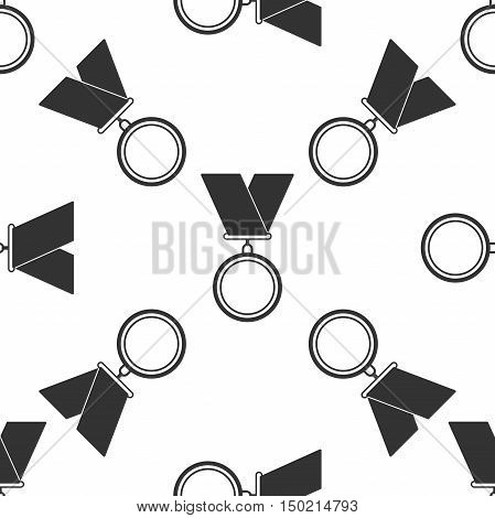 Medal icon seamless pattern on white background. Vector Illustration