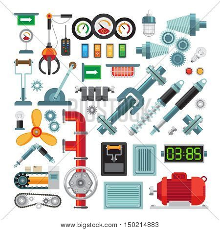 Machinery flat icons. Industrial equipment, mechanical gears and levers, machine parts
