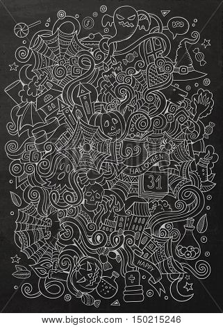 Cartoon cute doodles hand drawn Halloween illustration. Chalkboard detailed, with lots of objects background. Funny vector artwork. Line art picture with holiday theme items.