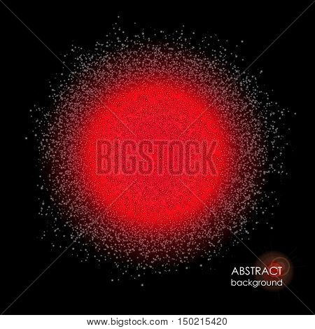 Red spot glowing dust. Colored powder. Cloud on black background. Bundle of energy. Vector element of space, industrial or festive design. Space object, galaxy, nebula. Creative background for text.