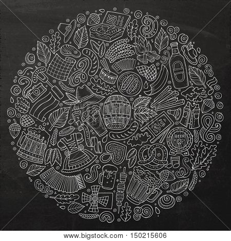 Chalk board vector hand drawn set of Beer fest cartoon doodle objects, symbols and items. Round form composition