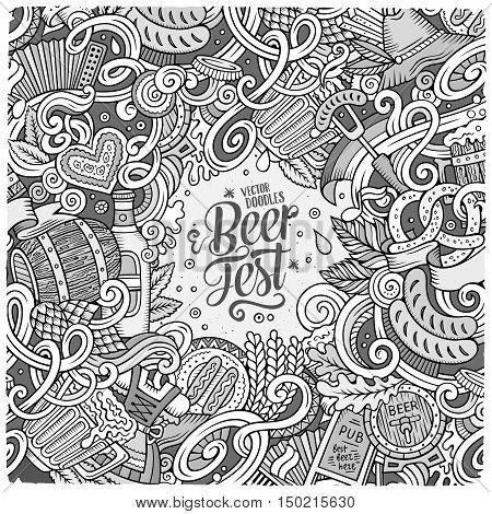 Cartoon cute doodles hand drawn Beer frame design. Sketchy detailed, with lots of objects background. Funny vector illustration.