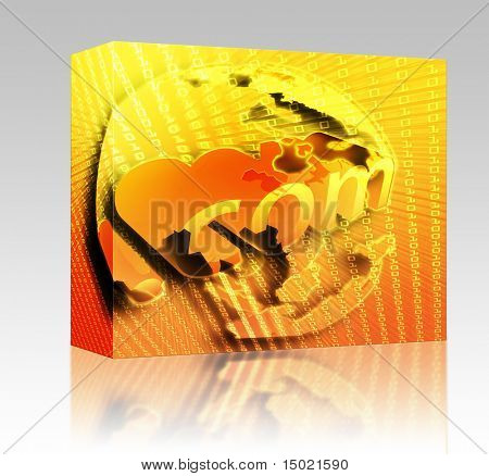 Software package box dotCom background, on Asia map internet illustration