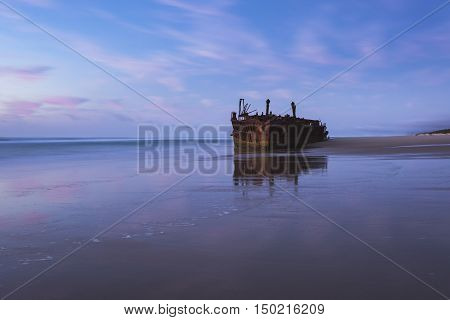 The Maheno shipwreck on 75 Mile Beach, Fraser Island, Queensland, Australia