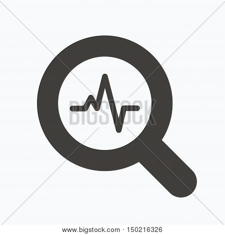 Heartbeat in magnifying glass icon. Cardiology symbol. Medical pressure sign. Gray flat web icon on white background. Vector