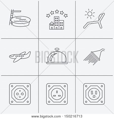 Hotel, swimming pool and beach deck chair icons. Reception bell, shower and airplane linear signs. European, UK and USA socket icons. Linear icons on white background. Vector