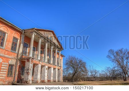 View of part of an old manor house built in the village Khal'ch
