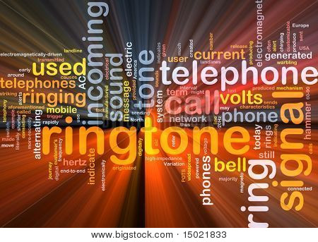 Word cloud concept illustration of telephone ringtone glowing light effect
