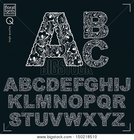 Ecology Style Flowery Font, Vector Typeset Made Using Natural Ornament. Monochrome Alphabet Capital