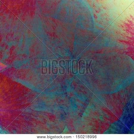 Floral art grunge batik background. Stylization of pastel colors watercolors. Vintage textured backdrop with pink red yellow gold blots.