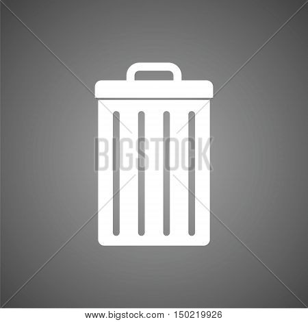 Garbage Icon on gray background, Trash can icon