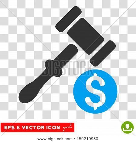 Auction vector icon. Image style is a flat blue and gray icon symbol.