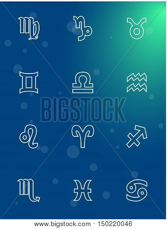 Illustration - set of icons - with signs of zodiac.