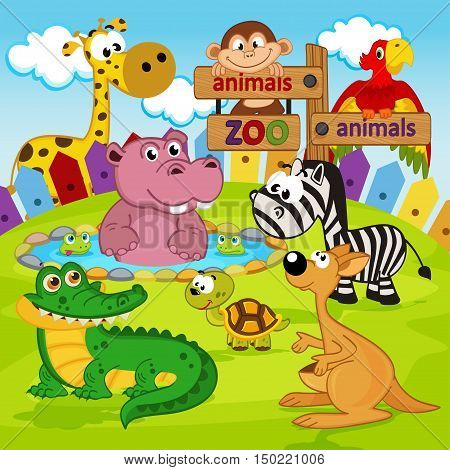 animals in zoo  -  vector illustration, eps
