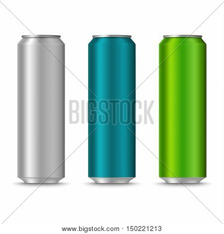 Colorful cans of drinks template vector eps 10