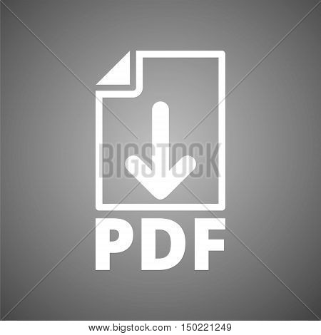 Simple PDF icon on gray background - vector
