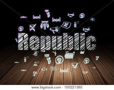 Politics concept: Glowing text Republic,  Hand Drawn Politics Icons in grunge dark room with Wooden Floor, black background