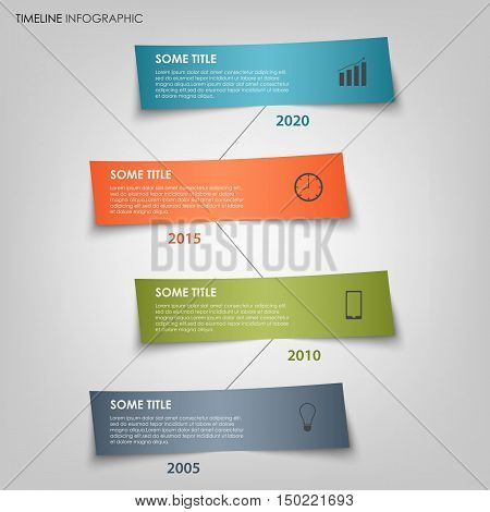 Time line info graphic with colored labels bent template vector eps 10