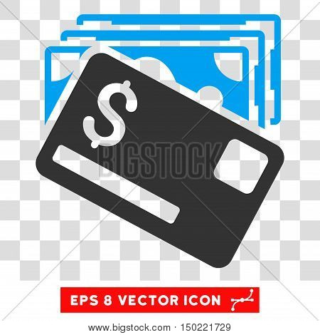 Banknotes and Card vector icon. Image style is a flat blue and gray pictogram symbol.