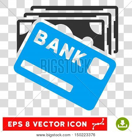Credit Money vector icon. Image style is a flat blue and gray pictograph symbol.