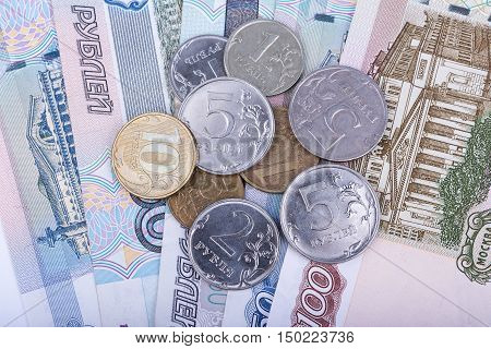 Russian rubles banknotes and coins closeup view