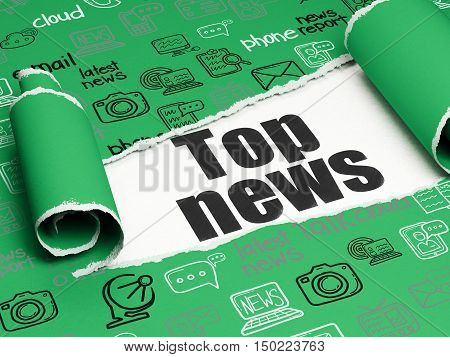 News concept: black text Top News under the curled piece of Green torn paper with  Hand Drawn News Icons, 3D rendering